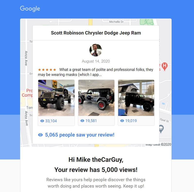 Picture views on a car dealer's Google My Business page